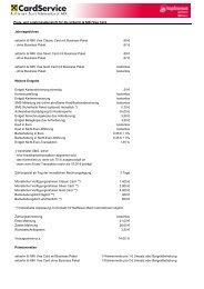 Preis- und Leistungsübersicht für die airberlin & NIKI Visa Card