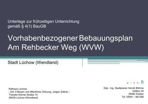 Vorhabenbezogener Bebauungsplan Am Rehbecker Weg (WVW)