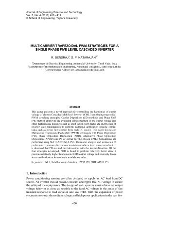 Multicarrier trapezoidal PWM strategies for a single phase five level ...
