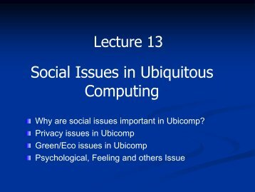 Social Issues in Ubiquitous Computing