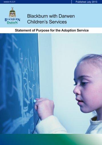 Adoption Statement of Purpose - Blackburn with Darwen Children's ...