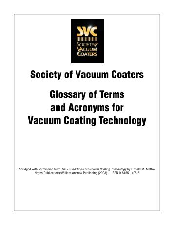 Glossary of Terms and Acronyms - The Society of Vacuum Coaters