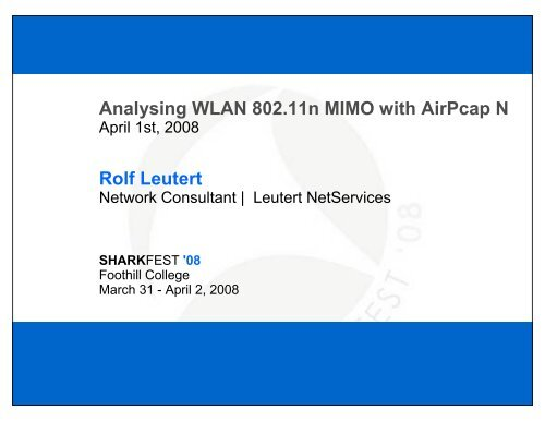 Analysing WLAN 80211 N MIMO With AirPcap