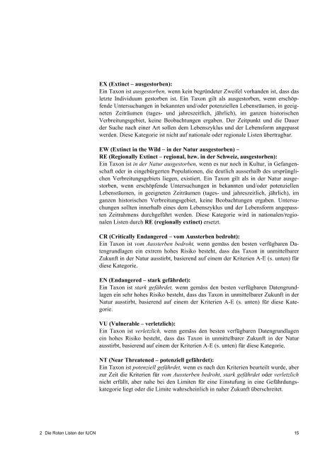 Rote Liste der gefährdeten Amphibien der Schweiz 2005 - Karch