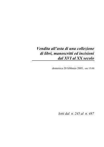 Vendita all'asta di una collezione di libri, manoscritti ed ... - Eurantico