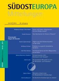 SÜDOST EUROPA Mitteilungen - Suedosteuropa Gesellschaft