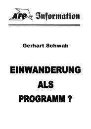 Gerhart Schwab - Einwanderung als Programm? - AFP (Kommentare)