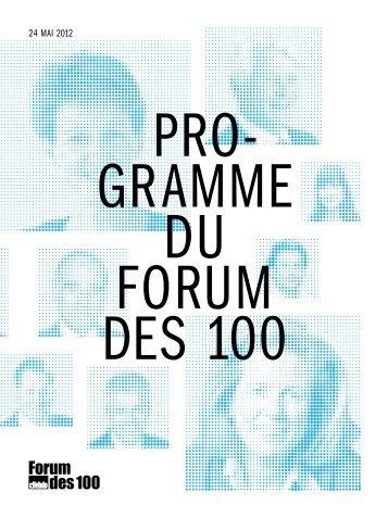 Programme (livret, PDF) - Forum des 100