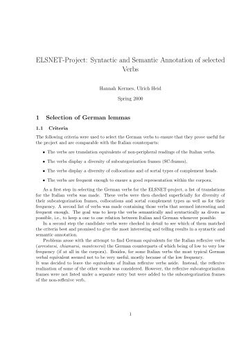 ELSNET-Project: Syntactic and Semantic Annotation of selected Verbs