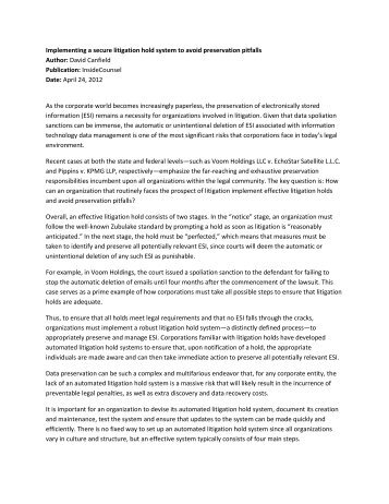 Litigation Hold Letter To Client | Docoments Ojazlink