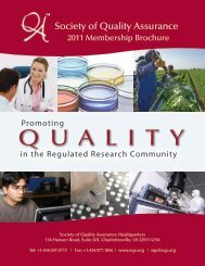 2011 Brochure - Society of Quality Assurance