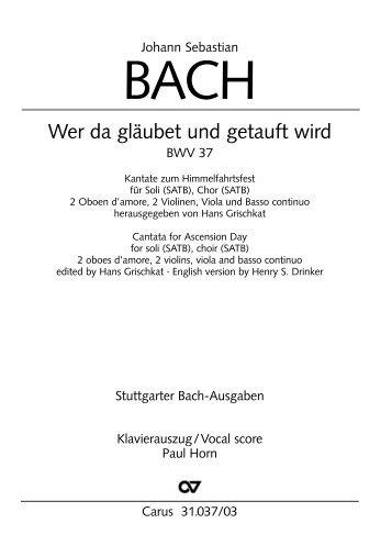 Page 1 Johann Sebastian BACH VVer da glaubet und getauft wird ...