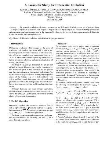 A Parameter Study for Differential Evolution - Wseas.us
