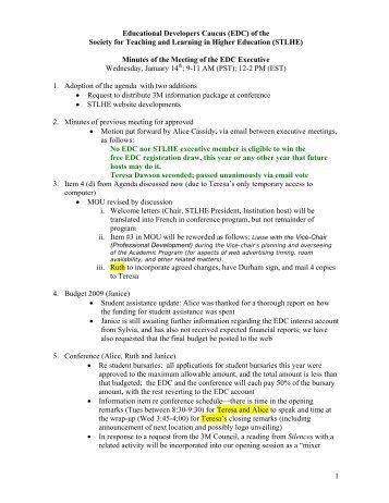 Exec Minutes 2009 Jan. 14 - STLHE