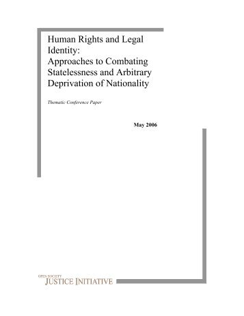 Human Rights and Legal Identity: Approaches to Combating ...