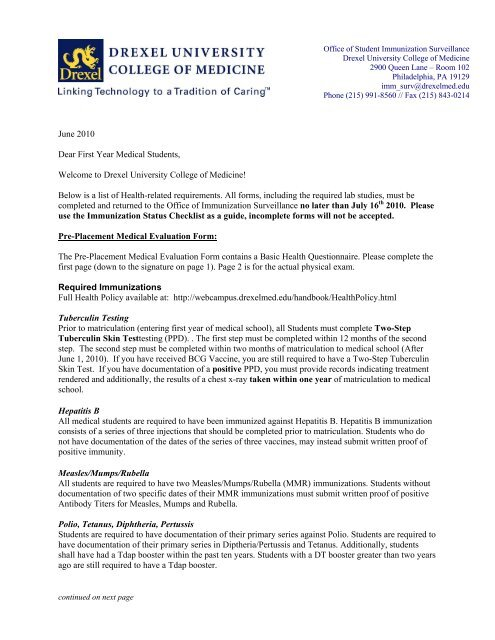 Health Immunization Form - WebCampus - Drexel University