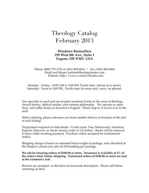 Theology Catalog Windows Booksellers