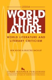 world literature and literary criticism - Lynne Rienner Publishers