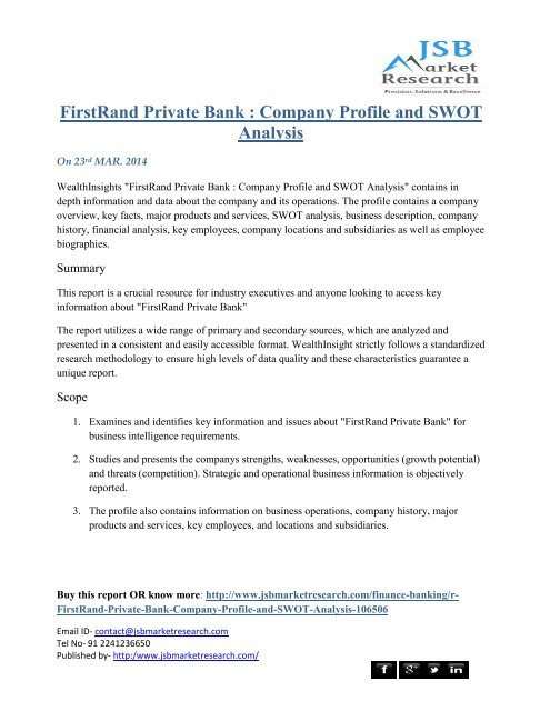 FirstRand Private Bank : Company Profile and SWOT Analysis
