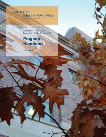 MPP/MPA Student Handbook 2011 - Gerald R. Ford School of ...