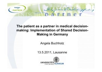 The patient as a partner in medical decision- making ...