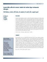 Lesioni della cuffia dei rotatori. Analisi dei risultati dopo trattamento ...