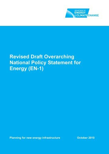 Revised Draft Overarching National Policy Statement for Energy EN-1