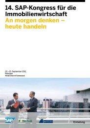 14. SAP-Kongress für die Immobilienwirtschaft An morgen denken ...