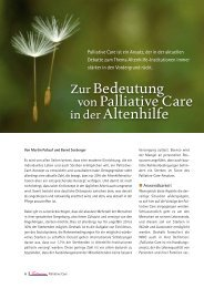 Zur Bedeutung von Palliative Care in der Altenhilfe - Seniorweb.ch