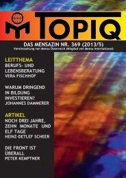 das mensazin nr. 369 (2013/5) leitthema artikel - Mensa Österreich