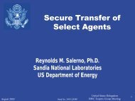 Secure Transfer of Select Agents - Sandia National Laboratories