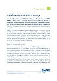 WKOÖ-Awards für ENGEL-Lehrlinge - Engel Austria