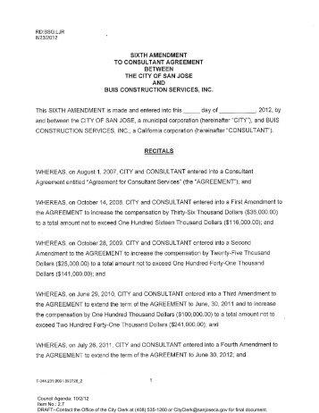 Sixth Amendment to the Agreement - City of San José