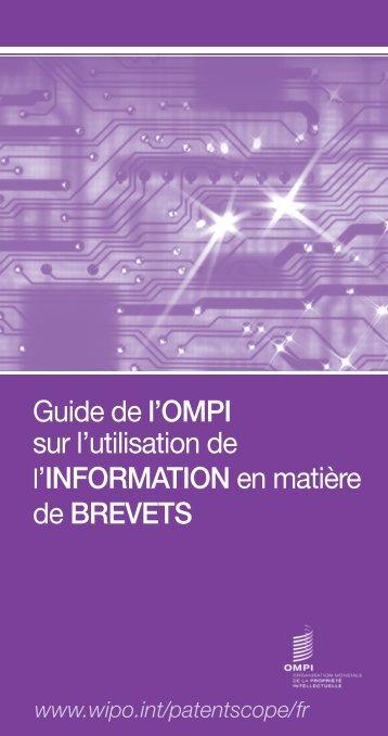 Guide de l'OMPI sur l'utilisation de l'information en matière ... - WIPO
