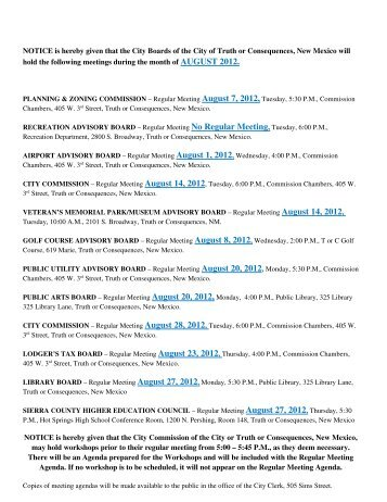 Monthly meeting notice - AUGUST 2012.pdf - City of Truth or ...