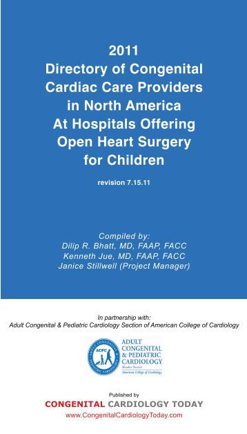 2011 Directory of Congenital Cardiac Care Providers in North ...