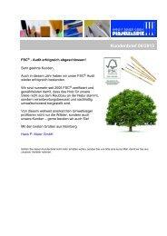 FSC®-Audit erfolgreich abgeschlossen! - Kundenbrief 06/2013