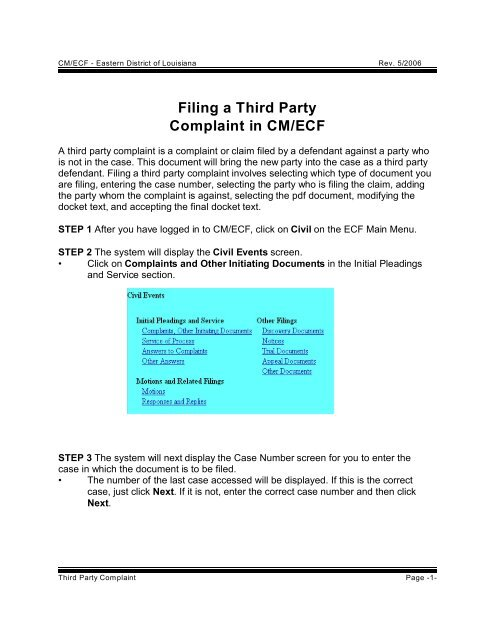 Filing a Third Party Complaint in CM/ECF - US District Court