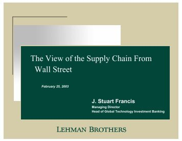 The View of the Supply Chain From Wall Street - Supply Chain Council