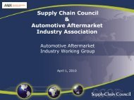 Supply Chain Council & Automotive Aftermarket Industry Association