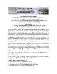 Call for Papers: ESTIMedia 2009 7th IEEE Workshop on Embedded ...