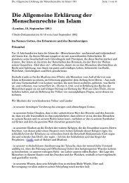Die Allgemeine Erklärung der Menschenrechte im Islam - Way to Allah