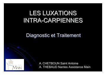 LES LUXATIONS INTRA-CARPIENNES - ClubOrtho.fr