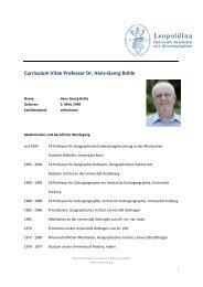 Curriculum Vitae Professor Dr. Hans-Georg Bohle - Leopoldina