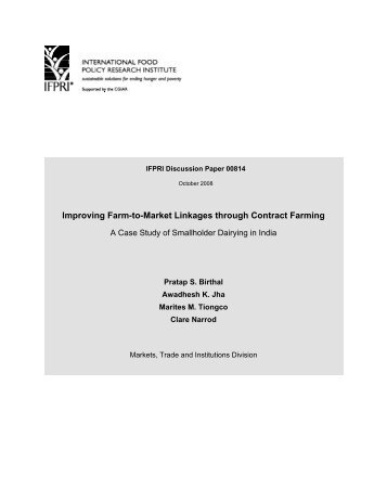 Improving Farm-to-Market Linkages through Contract Farming: A ...