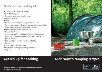 Nick Nairn's camping recipes Geared up for cooking - Tiso