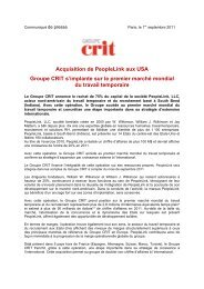 Acquisition de PeopleLink aux USA Groupe CRIT s'implante sur le ...