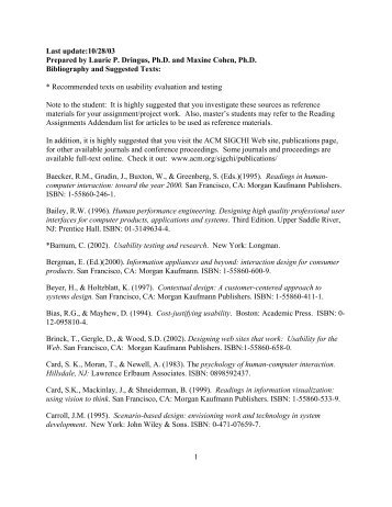 Bibliography and Suggested Readings in .pdf (Adobe) format