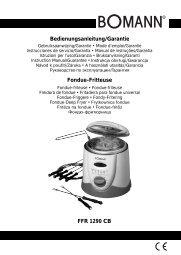 FFR 1290 CB Bedienungsanleitung/Garantie Fondue-Fritteuse