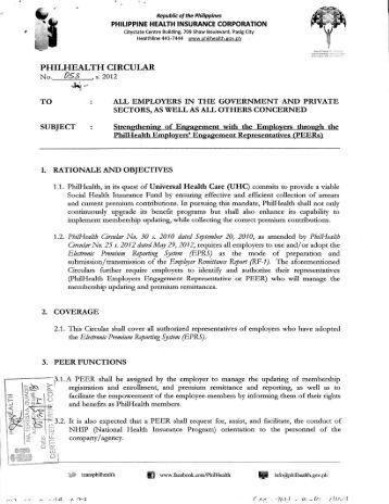 PHILHEALTH CIRCULAR - Philippine Health Insurance Corporation